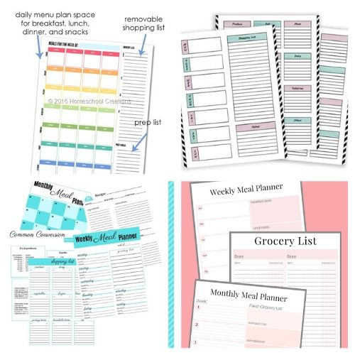 20 Free Printable Menu Planning Templates- These free printable meal planners will save you time, energy, and money! Once you get used to meal planning you will never go back!   recipe binder templates, kitchen printables, meal prep, food prep, #mealPlanner #mealPlanning #freePrintables #menuPlanner #ACultivatedNest