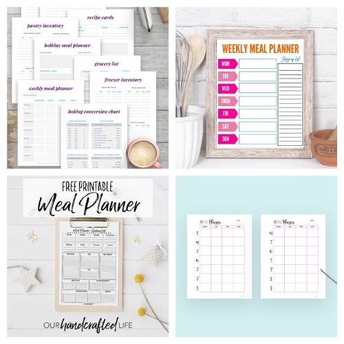 20 Free Printable Weekly Meal Planners- These free printable meal planners will save you time, energy, and money! Once you get used to meal planning you will never go back!   recipe binder templates, kitchen printables, meal prep, food prep, #mealPlanner #mealPlanning #freePrintables #menuPlanner #ACultivatedNest
