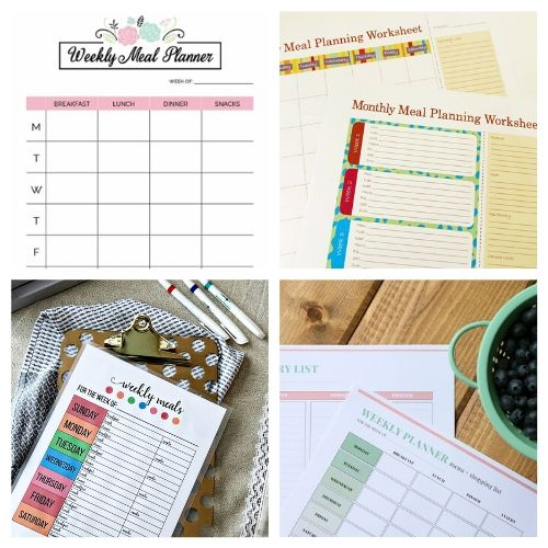 20 Free Menu Planner Printables- These free printable meal planners will save you time, energy, and money! Once you get used to meal planning you will never go back! | recipe binder templates, kitchen printables, meal prep, food prep, #mealPlanner #mealPlanning #freePrintables #menuPlanner #ACultivatedNest