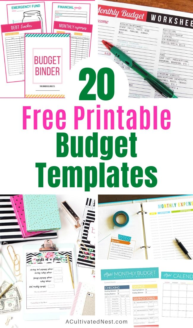 20 Free Printable Budget Templates- Want to get your family's finances in order? Then you need to check out these free printable budget templates! There are tons of great budget worksheets here to help you on your way to financial freedom! | budgeting printables, budget binder printable, family finance planner printable, #freePrintables #printable #budget #livingOnABudget #ACultivatedNest