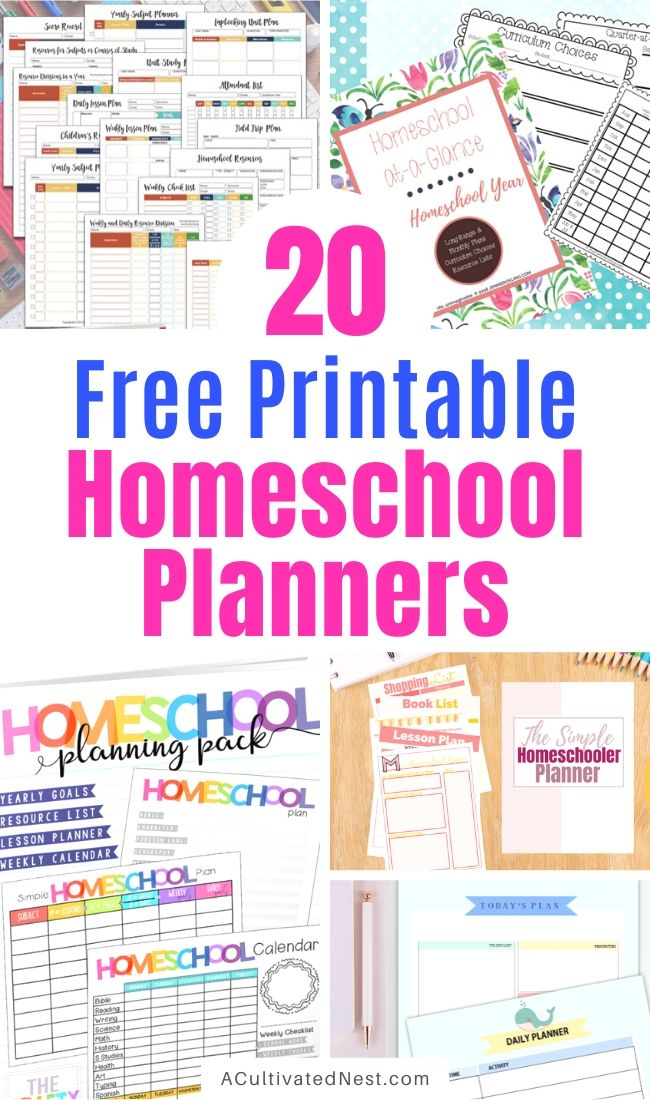 20 Free Printable Homeschool Planners- If you need to get your homeschool organized on a budget, then you need to check out these free printable homeschool planners! There are planners for all grades! | #homeschooling #homeschoolPlanner #freePrintable #freePrintable #ACultivatedNest