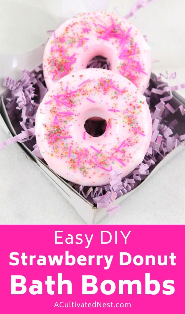 Strawberry Doughnut DIY Bath Bomb Recipe- If you want to take a relaxing bath, make this strawberry doughnut DIY bath bomb recipe first! They're easy to make, smell great, and make wonderful DIY gifts! | #DIYBathBomb #diyProject #craft #homemadeGift #ACultivatedNest