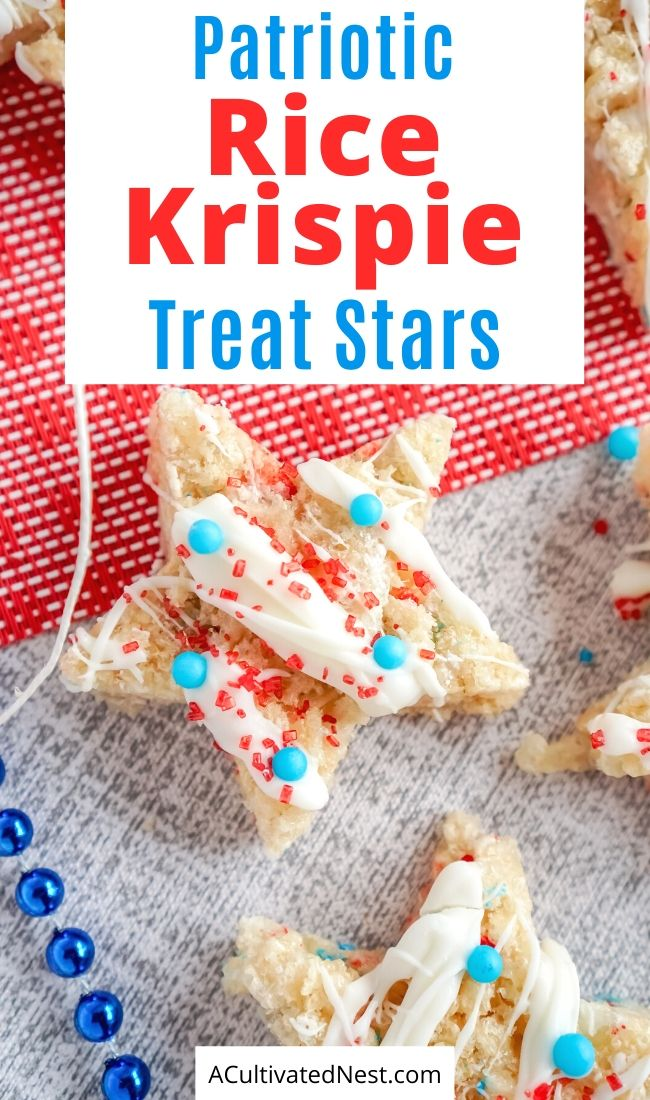 Patriotic Rice Krispie Treat Stars- These delicious patriotic rice krispie treat stars are festive, fun, easy to make, and a crowd pleaser! They're perfect for Memorial Day or the Fourth of July! | homemade krispy rice treat recipes, red, white, and blue food recipes, patriotic dessert recipes, #memorialDay #fourthOfJuly #recipe #desserts #ACultivatedNest
