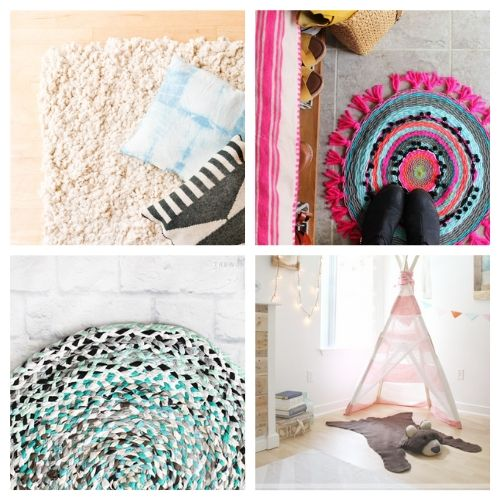 20 Charming Homemade Rugs- When you see this collection of charming DIY rugs, you are sure to fall in love. They are all beautiful, and so easy to make! | homemade rugs, how to make a rug, #diy #diyProject #rugs #decor #ACultivatedNest