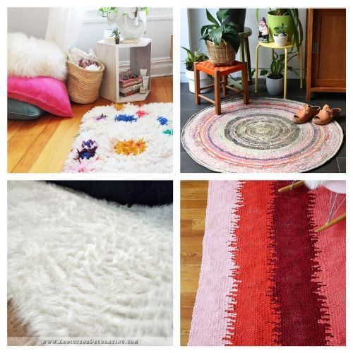 20 Charming Rug Crafts- When you see this collection of charming DIY rugs, you are sure to fall in love. They are all beautiful, and so easy to make! | homemade rugs, how to make a rug, #diy #diyProject #rugs #decor #ACultivatedNest