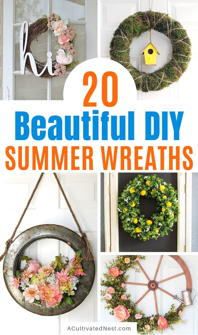 20 Beautiful DIY Summer Wreaths- Add some gorgeous summer decor to your home on a budget with these beautiful DIY summer wreaths! | #diyWreath #wreath #DIY #craft #ACultivatedNest
