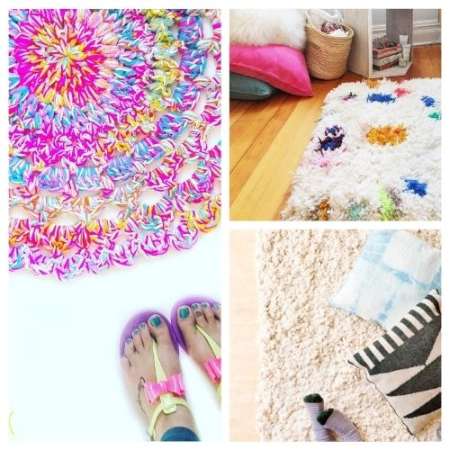 20 Charming DIY Rugs- When you see this collection of charming DIY rugs, you are sure to fall in love. They are all beautiful, and so easy to make! | homemade rugs, how to make a rug, #diy #diyProject #rugs #decor #ACultivatedNest