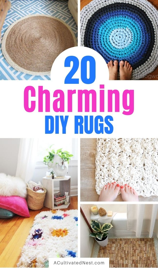 20 Charming DIY Rugs- If you want to update your home's decor with a fun DIY project, then you need to see this collection of charming DIY rugs! They're all beautiful, and so easy to make! | homemade rugs, how to make a rug, #diy #diyRugs #rugs #craft #ACultivatedNest