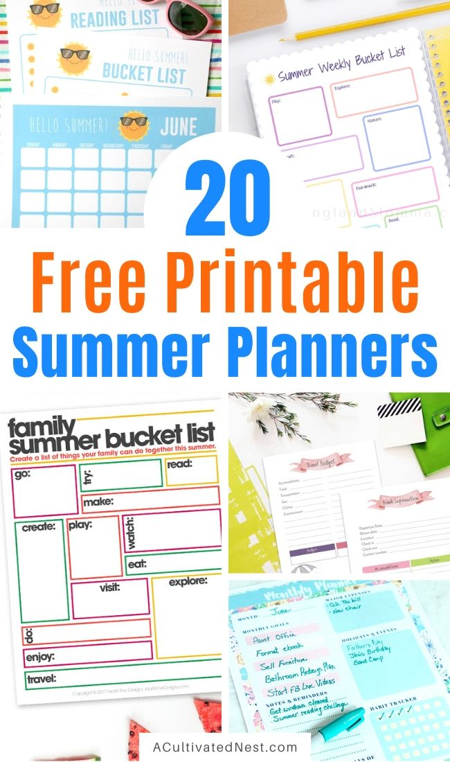 20 Free Printable Summer Planners- Ensure you have the best summer ever with this list of free printable summer planners! Use them to organize your days so you'll have plenty of time for all your fun summer activities! | #plannerPrintables #freePrintables #summerPlanner #freePrintable #ACultivatedNest