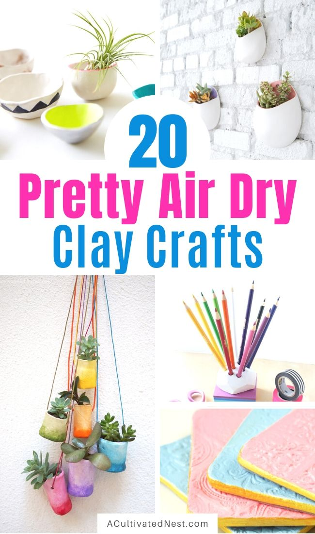 20 Gorgeous Air Dry Clay Crafts- These 20 gorgeous air dry clay crafts will keep you busy and creating all sorts of fun stuff for your space! They're all so fun and easy to make! | decor to make with air dry clay, what to make with air dry clay, #crafts #diyProject #airDryClay #clayCrafts #ACultivatedNest