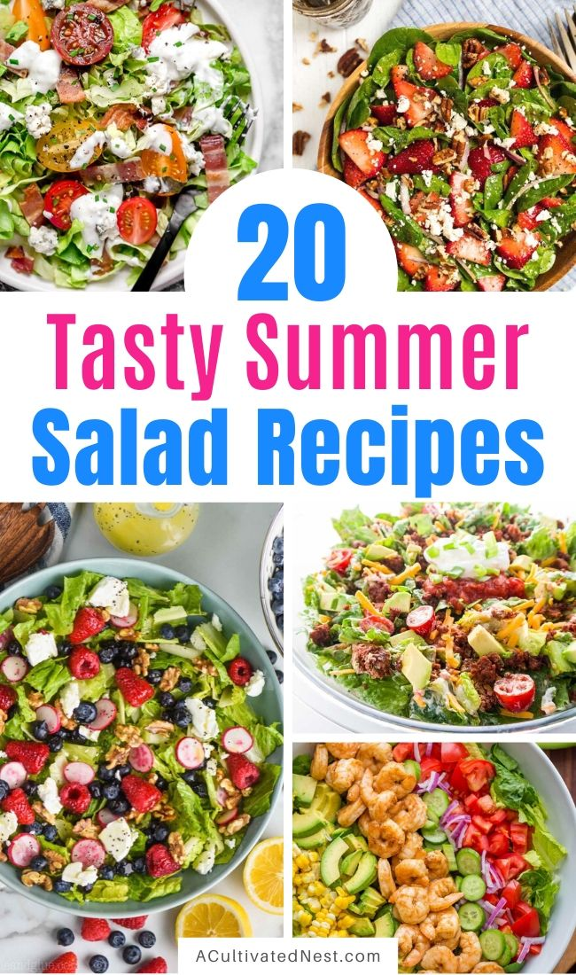 20 Incredible Summer Salads for Every Occasion- These delicious summer salad recipes are perfect for any occasion, and are a great way to have an easy and healthy dinner! | #saladRecipes #recipes #healthyRecipes #summerRecipes #ACultivatedNest
