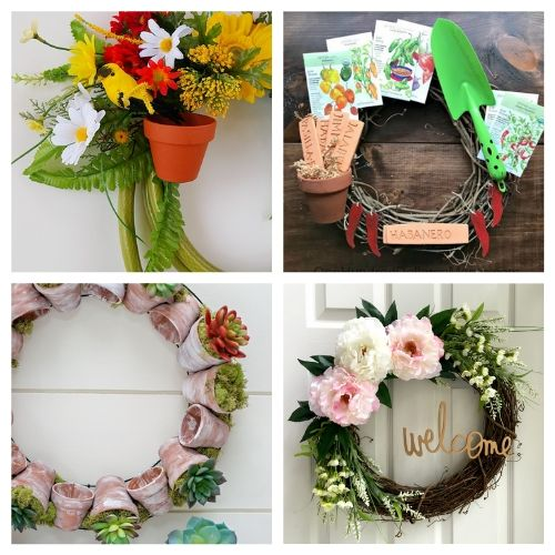 20 Lovely Summer Garden Wreath DIYs- These DIY summer garden wreaths are lovely and will be so inviting and welcoming! Make them as homemade gifts or keep them for yourself! | #diy #wreaths #diyWreaths #crafts #ACultivatedNest