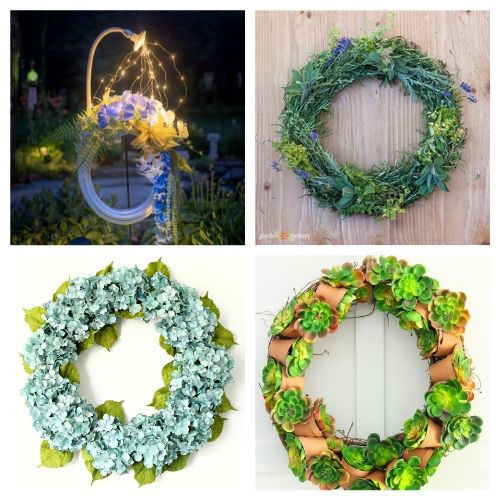 20 Gorgeous Garden Wreath DIYs- These DIY summer garden wreaths are lovely and will be so inviting and welcoming! Make them as homemade gifts or keep them for yourself! | #diy #wreaths #diyWreaths #crafts #ACultivatedNest