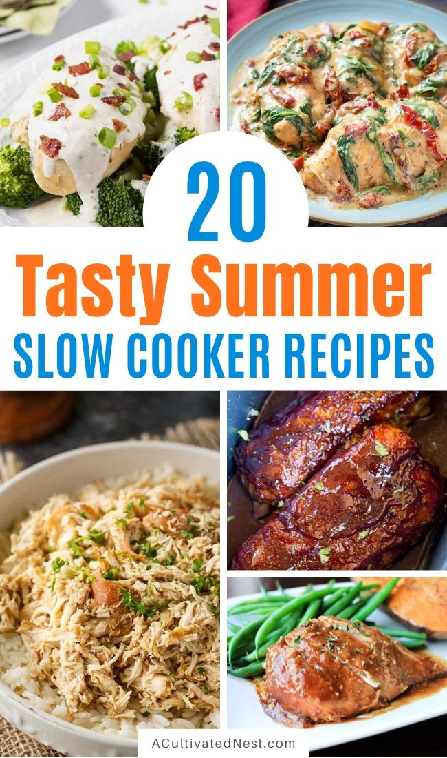 20 Delicious Summer Slow Cooker Recipes- All of these summer slow cooker recipes are so delicious, and can be made without heating up your house! They're all wonderful summer dinner options! | chicken recipes, dinner ideas, #recipes #slowCooker #crockPot #dinner #ACultivatedNest