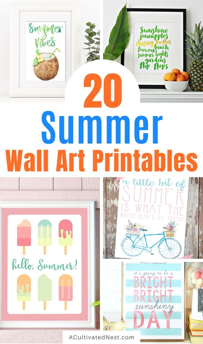 20 Free Summer Wall Art Printables- If you want to update your home's decor for summer on a budget, you need these free summer wall art printables! These adorable free printables are just what you need to add some summer style to your home! | #freePrintables #wallArt #printables #summerDecor #ACultivatedNest