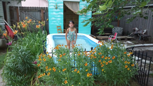 Clean Your Kiddie Pool- Your yard is going to look fabulous with these brilliant backyard cleaning tips! It will be ready for entertaining, sipping on sweet tea, or resting. | how to clean your patio, how to clean your fence, how to clean your backyard, #cleaningTips #cleaning #backyard #yard #ACultivatedNest