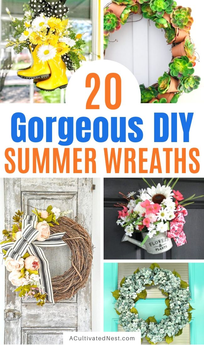20 Lovely DIY Summer Garden Wreaths- If you want a lovely, inviting decoration for your front door, you need to check out these DIY summer garden wreaths! They'd also make wonderful homemade gifts! | #diyProjects #wreaths #summer #crafts #ACultivatedNest