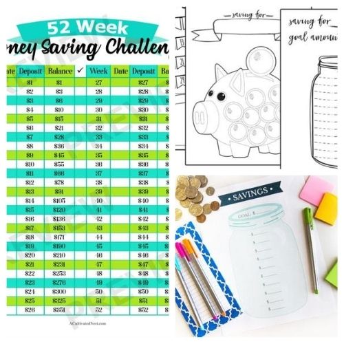 10 Free Printable Savings Trackers- These fabulous free printable savings trackers will help you get your finances in order and ready for whatever you are saving for! | #savingsTracker #saveMoney #moneySavingTips #freePrintables #ACultivatedNest