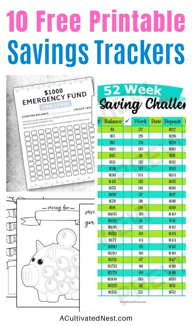 10 Free Printable Savings Trackers- If you want to save money, then you need to check out these fabulous free printable savings trackers! They'll help you get your finances in order and ready for whatever you are saving for! | #freePrintables #savingsTrackers #saveMoney #moneySavingTips #ACultivatedNest