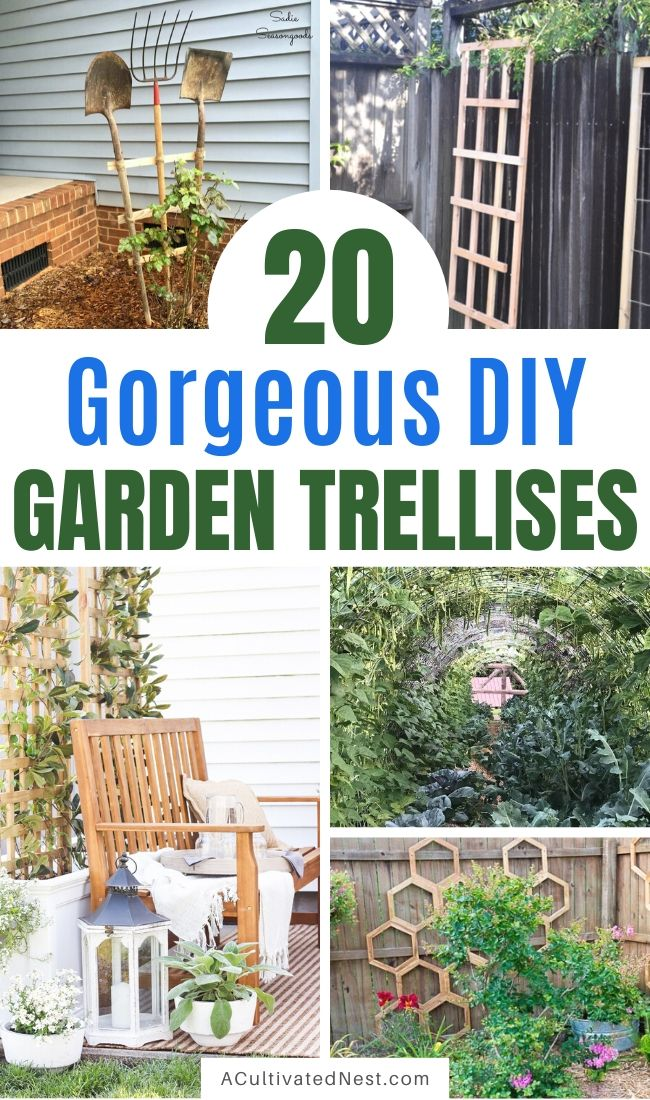 20 Gorgeous DIY Garden Trellises- If you want to add some charm to your yard, then you need to make one of these gorgeous DIY garden trellises! They're functional and easy way to beautify your garden! | #gardenDIY #DIY #garden #trellis #ACultivatedNest