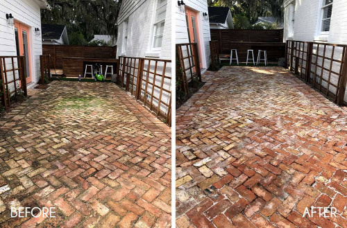 Clean Your Brick Path- Your yard is going to look fabulous with these brilliant backyard cleaning tips! It will be ready for entertaining, sipping on sweet tea, or resting. | how to clean your patio, how to clean your fence, how to clean your backyard, #cleaningTips #cleaning #backyard #yard #ACultivatedNest