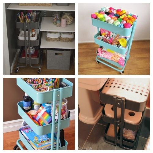 12 IKEA Cart Organizing Ideas- These incredible IKEA Raskog cart organizing ideas will have your home organized in a flash! This is such an easy way to organize! | #organizingTips #organization #organize #homeOrganization #ACultivatedNest