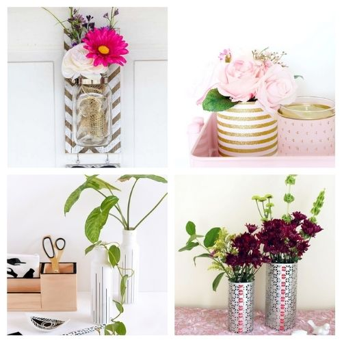 20 Gorgeous Flower Vase DIYs- You don't want to miss these gorgeous DIY flower vase ideas! They're perfect décor for your home or office space!   #DIY #flowerVases #crafts #diyProjects #ACultivatedNest