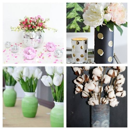 20 Gorgeous Flower Vases You Can Make- You don't want to miss these gorgeous DIY flower vase ideas! They're perfect décor for your home or office space!   #DIY #flowerVases #crafts #diyProjects #ACultivatedNest