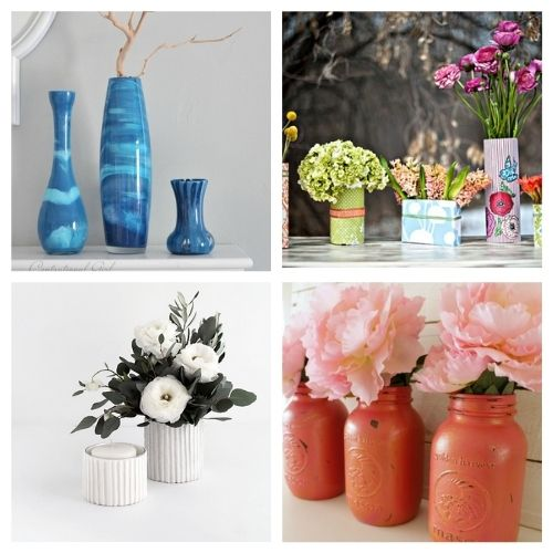 20 Gorgeous Flower Vase DIYs to Make- You don't want to miss these gorgeous DIY flower vase ideas! They're perfect décor for your home or office space!   #DIY #flowerVases #crafts #diyProjects #ACultivatedNest