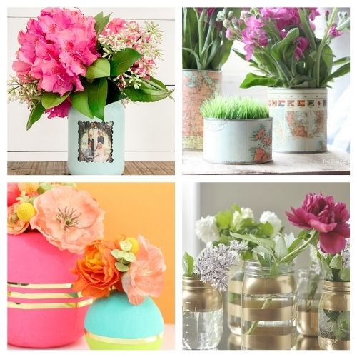 20 Gorgeous Flower Vase Crafts- You don't want to miss these gorgeous DIY flower vase ideas! They're perfect décor for your home or office space!   #DIY #flowerVases #crafts #diyProjects #ACultivatedNest