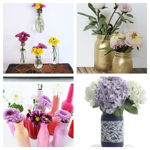 20 Gorgeous Homemade Flower Vases- You don't want to miss these gorgeous DIY flower vase ideas! They're perfect décor for your home or office space!   #DIY #flowerVases #crafts #diyProjects #ACultivatedNest