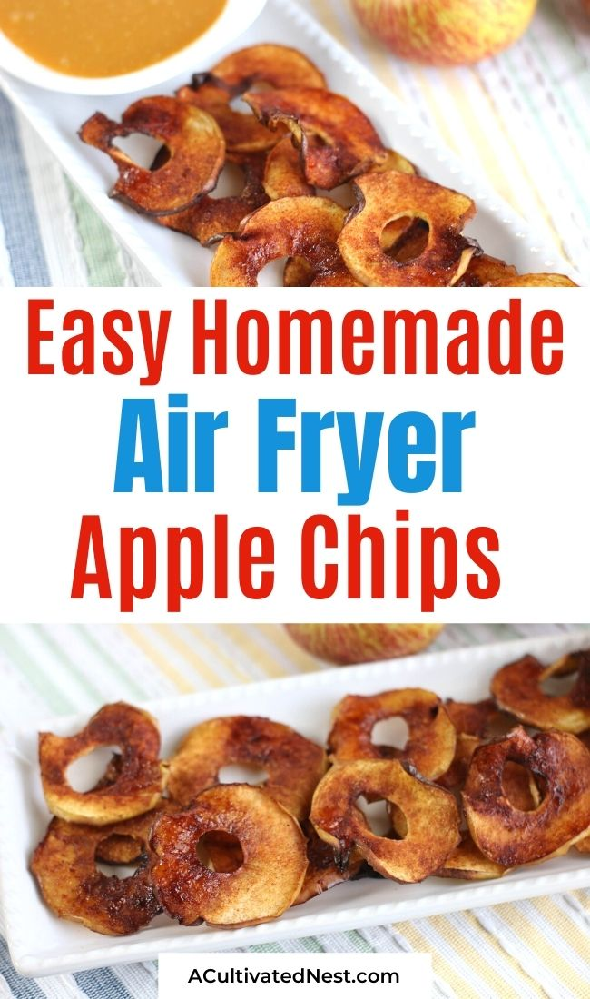 Air Fryer Apple Chips- These delicious air fryer apple chips are an easy and frugal homemade snack! Plus, they're so much more flavorful than commercial versions! | #airFryer #homemadeSnack #recipes #snacks #ACultivatedNest