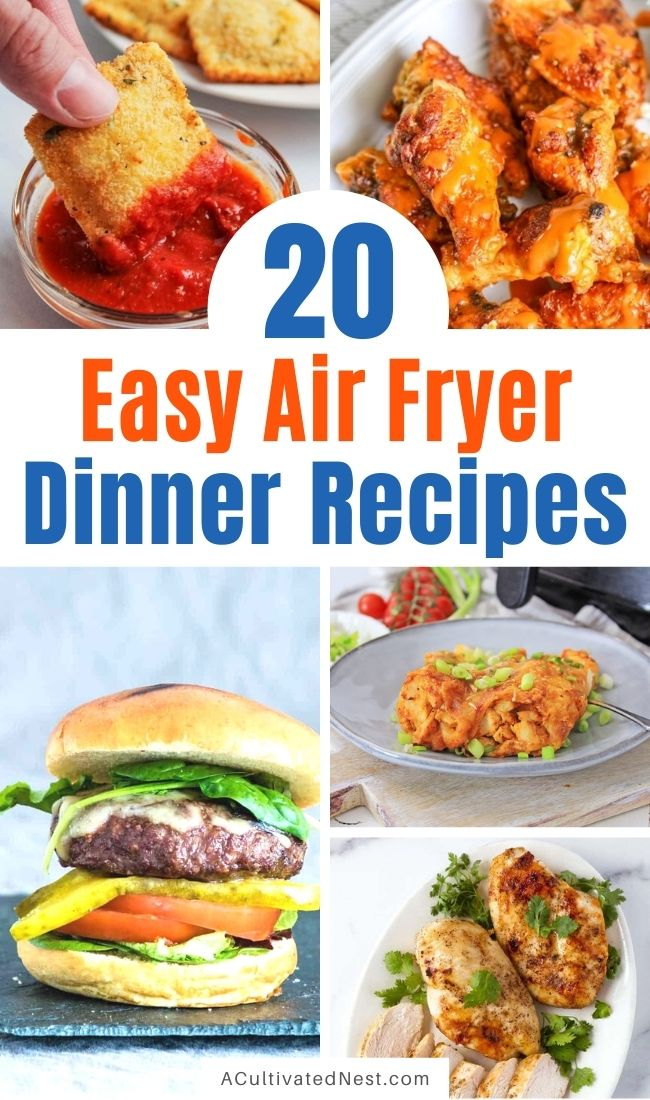 20 Easy Air Fryer Dinner Recipes- If you want some new and delicious recipes to try in your air fryer, you need to check out these easy air fryer dinner recipes! Your family is sure to love them! | #airFryerRecipes #recipe #airFryer #dinnerRecipes #ACultivatedNest