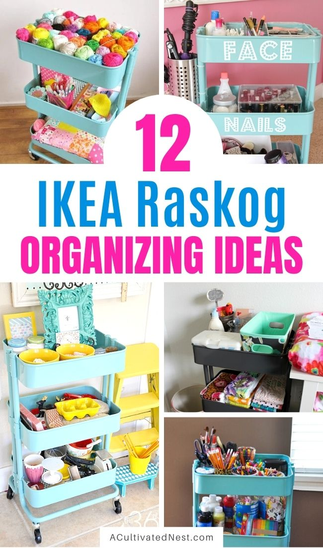 12 IKEA Raskog Cart Organizing Ideas- These clever IKEA Raskog cart organizing ideas will help you get your home organized quickly and easily! Utility carts are such a great way to organize any space! | #organizingTips #organization #raskogCart #homeOrganization #ACultivatedNest