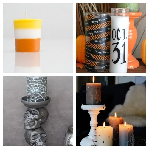 20 Spooky Halloween Candle Crafts- These spooky DIY Halloween candles are exactly what your home needs. They are fun to make and creepy enough to add some flair to your space! | #Halloween #diyProjects #diyCandles #HalloweenCrafts #ACultivatedNest