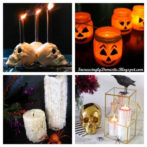 20 Spooky Homemade Halloween Candles- These spooky DIY Halloween candles are exactly what your home needs. They are fun to make and creepy enough to add some flair to your space! | #Halloween #diyProjects #diyCandles #HalloweenCrafts #ACultivatedNest