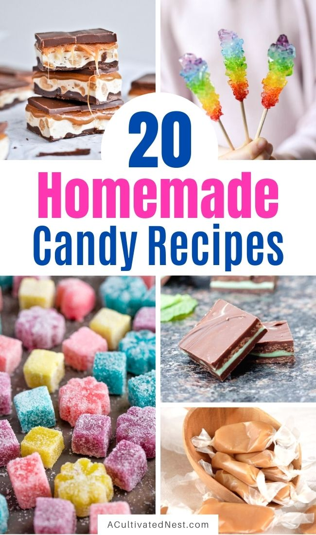 20 Delicious Homemade Candy Recipes- This list of delicious homemade candy recipes is full of delicious DIY candy copycats! They're perfect for Halloween, birthdays, and all other sorts of occasions! | #candyRecipes #Halloween #recipes #homemadeCandy #ACultivatedNest