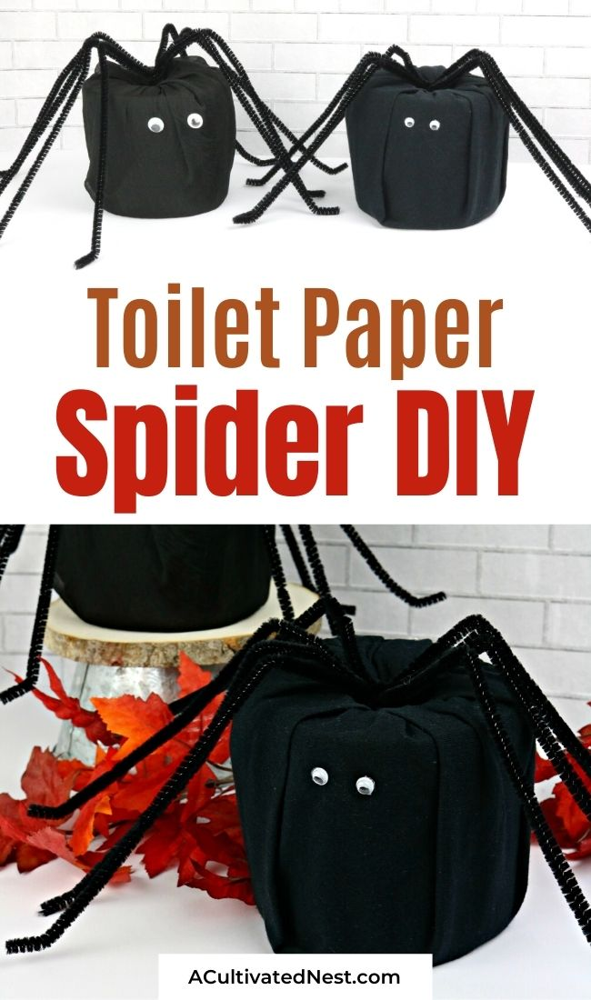 DIY Halloween Toilet Paper Spider- If you want to add some Halloween decor to your home on a budget, you have to make this DIY Halloween toilet paper spider. It's easy, and adorable too! | DIY Halloween decorations, #halloweenDecorations #diyProjects #DIYs #Halloween #ACultivatedNest