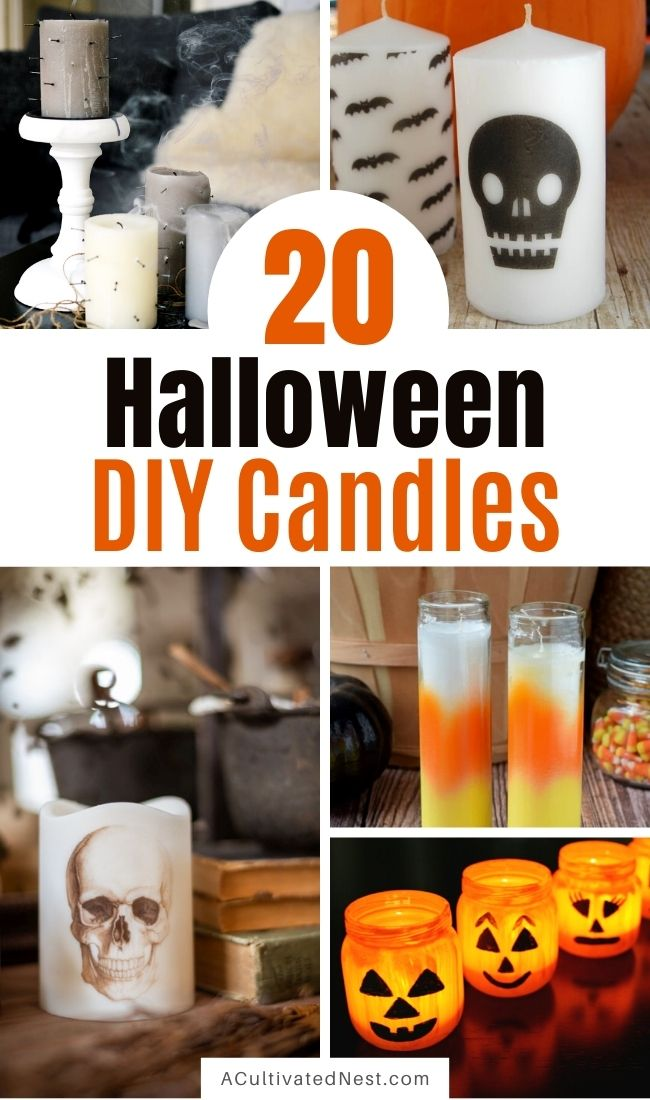20 Spooky DIY Halloween Candles- These fun DIY Halloween candles are exactly what you need to add a spooky touch to your space this October! | #Halloween #DIYs #diyCandles #crafts #ACultivatedNest