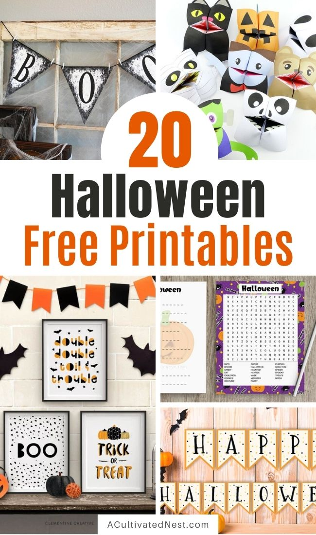 20 Spooky Halloween Free Printables- If you want to update your décor for Halloween on a budget, check out these fun Halloween free printables! A lot of fun free printable Halloween activities for kids are also included! | #freePrintable #HalloweenCrafts #HalloweenPrintables #printableKidsActivities #ACultivatedNest