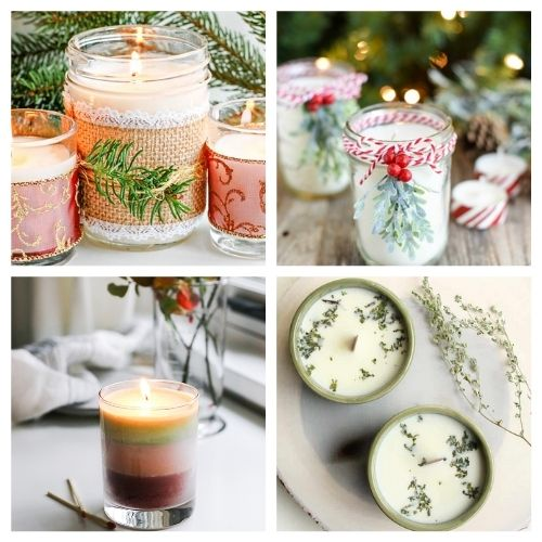 20 Gorgeous Christmas Candle Crafts- These gorgeous DIY Christmas candles are the perfect way to spruce up your space for the holidays! And they make lovely DIY gifts, too! | #Christmas #diyCandles #ChristmasCrafts #ChristmasDIYs #ACultivatedNest