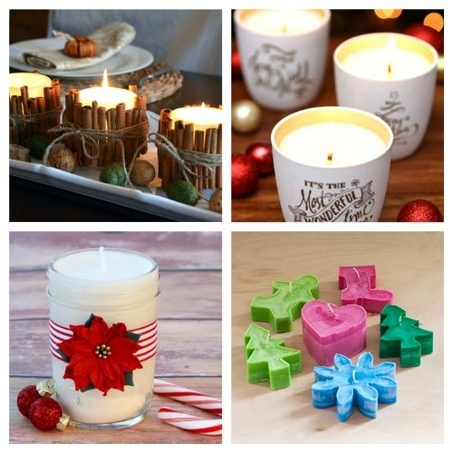 20 Gorgeous Homemade Holiday Candles- These gorgeous DIY Christmas candles are the perfect way to spruce up your space for the holidays! And they make lovely DIY gifts, too! | #Christmas #diyCandles #ChristmasCrafts #ChristmasDIYs #ACultivatedNest