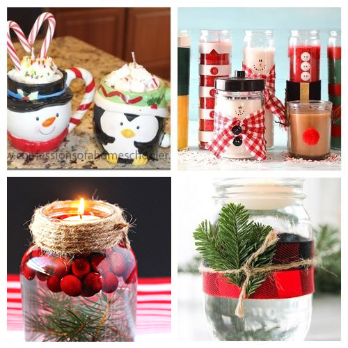 20 Gorgeous Christmas Candle DIYs- These gorgeous DIY Christmas candles are the perfect way to spruce up your space for the holidays! And they make lovely DIY gifts, too! | #Christmas #diyCandles #ChristmasCrafts #ChristmasDIYs #ACultivatedNest