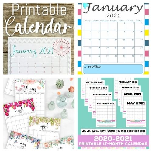 20 Free Printable 2021 Calendars- These lovely free printable 2021 calendars are just what you need! They are perfect for your home office or planning your schedule. | #freePrintables #printables #calendars #2021Calendars #ACultivatedNest