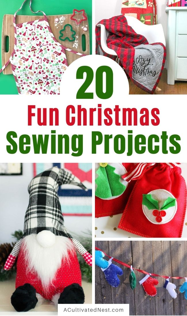 20 Charming Christmas Sewing Projects- These charming Christmas sewing projects are perfect for beginners, and are a fun and frugal way to add a festive touch to add to your home's décor! | #Christmas #ChristmasDIY #sewingProjects #sewing #ACultivatedNest
