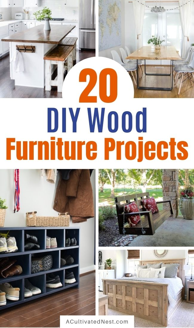 20 Magnificent DIY Wood Furniture Ideas- If you want some new furniture for your home, but don't want to spend a lot of money, then you need to check out these 20 magnificent DIY wood furniture ideas! |  #furnitureDIY #DIY #diyProjects#diyDecor #ACultivatedNest