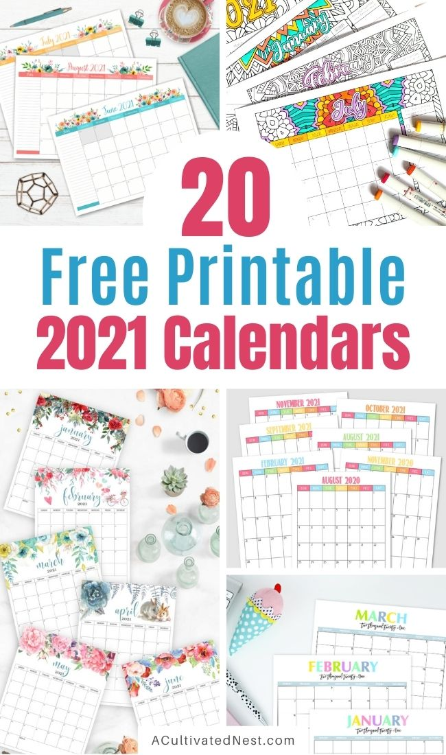 20 Free Printable 2021 Calendars- If you want an easy to to plan your schedule, remember birthdays, or track your workouts, then you need one of these lovely free printable 2021 calendars! They're perfect for hanging on the wall or keeping on your desk! | #2021Calendars #freePrintables #printable #calendarPrintables #ACultivatedNest