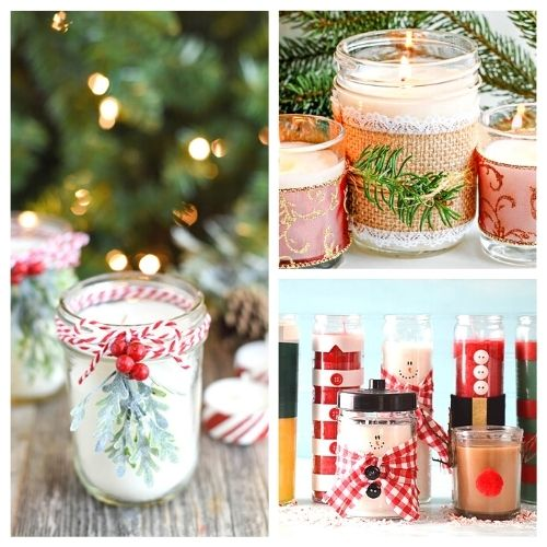 20 Gorgeous DIY Christmas Candles- These gorgeous DIY Christmas candles are the perfect way to spruce up your space for the holidays! And they make lovely DIY gifts, too! | #Christmas #diyCandles #ChristmasCrafts #ChristmasDIYs #ACultivatedNest