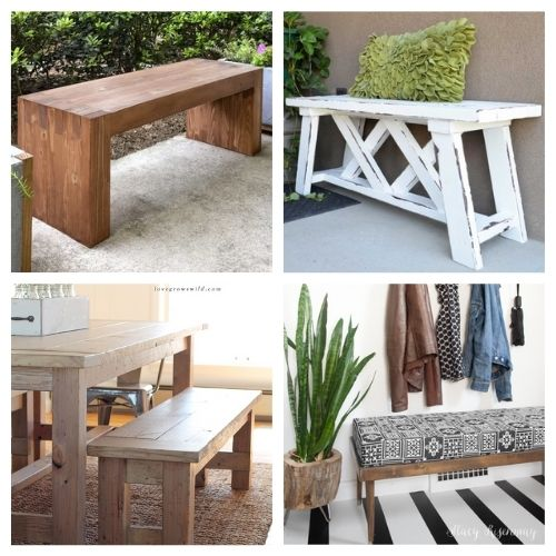 16 Beautiful DIY Benches- You're not going to want to miss these beautiful homemade DIY benches! They are easy to make and would look beautiful in any home! | #diyProjects #diy #diyFurniture #diyBenches #ACultivatedNest
