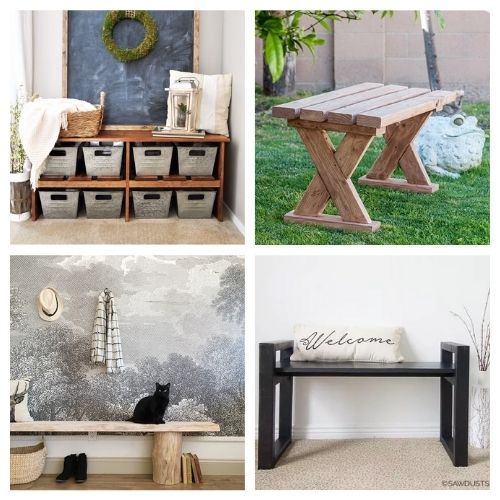 16 Beautiful Benches You Can Make Yourself- You're not going to want to miss these beautiful homemade DIY benches! They are easy to make and would look beautiful in any home! | #diyProjects #diy #diyFurniture #diyBenches #ACultivatedNest